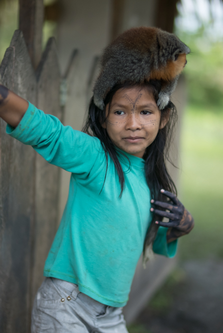 Unseparable friends Munduruku children from very young age learn how to care for forest animals